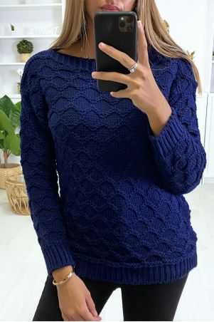 Navy wool sweater with cable knit boat neck.
