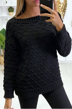 Black wool sweater with cable knit boat neck.