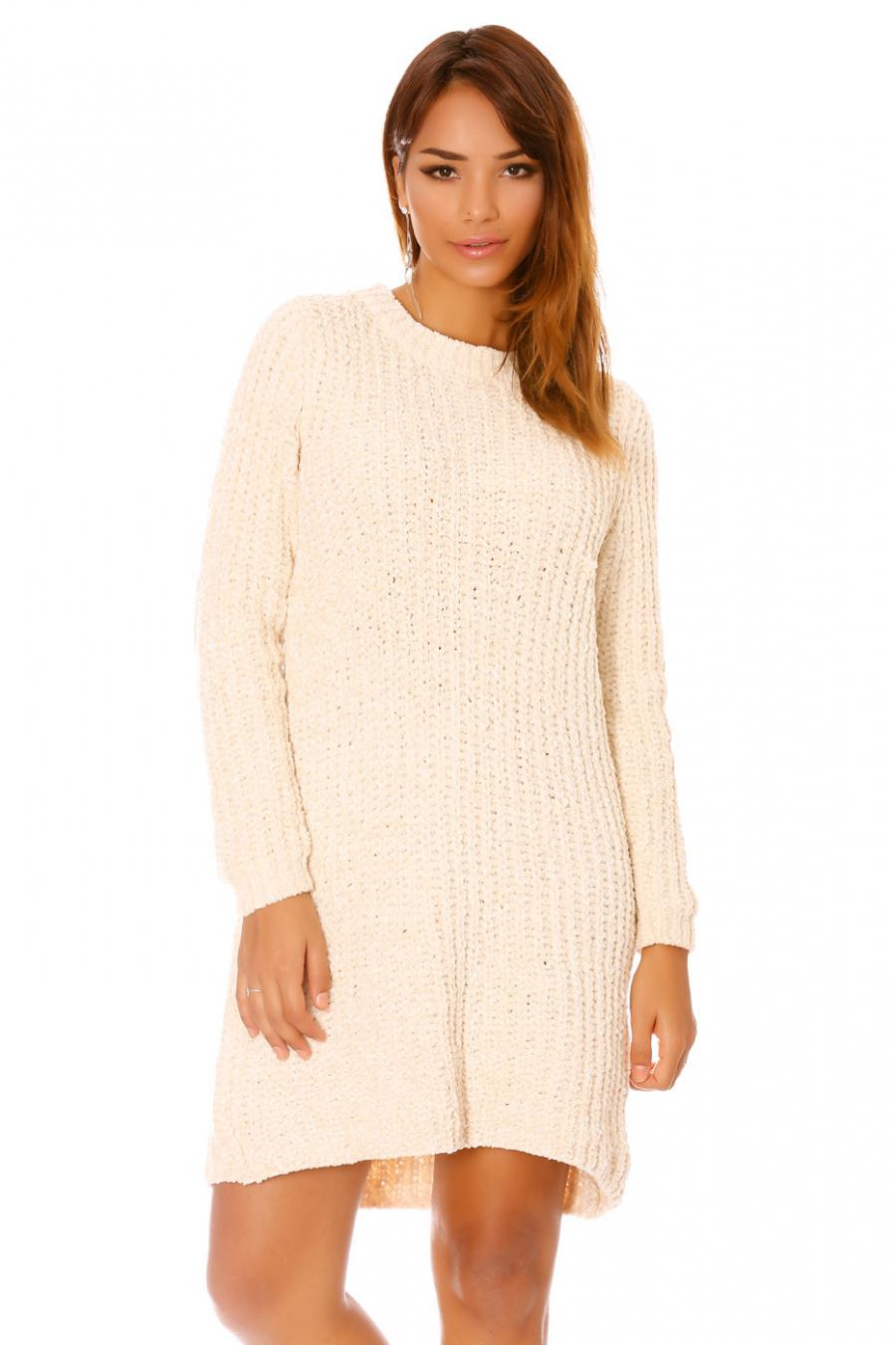 Beige sweaterjurk met gebreid effect F8701