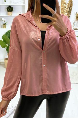 Prachtig roze avondhemd in een mooie glanzende stof