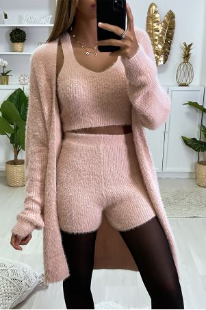 Beautiful, very soft 3-piece set in pink with tank shorts and cardigan