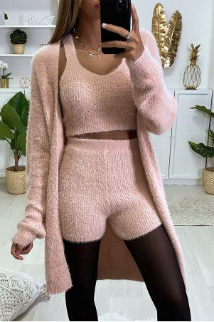Mooie, zeer zachte 3-delige set in roze met tankshort en vestje
