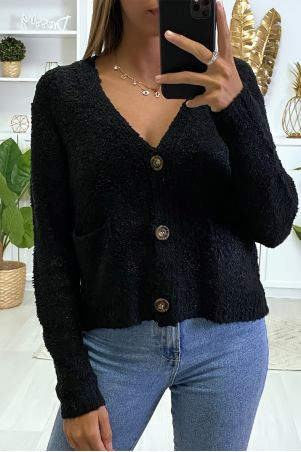 Black cardigan and tank top in warm chenille knit fabric