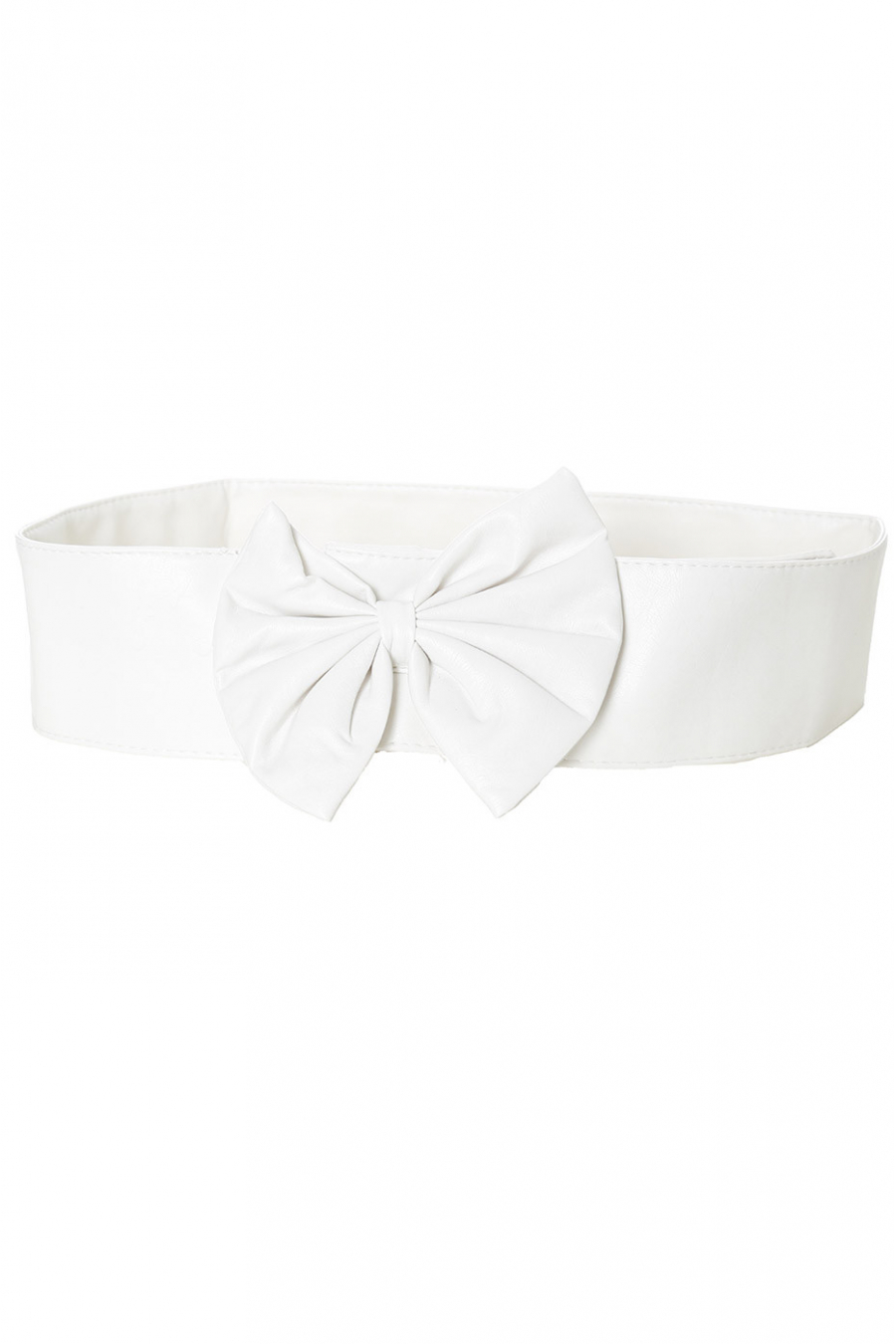 Ceinture blanche uni légère à boucle noeud papillon. noeud uni
