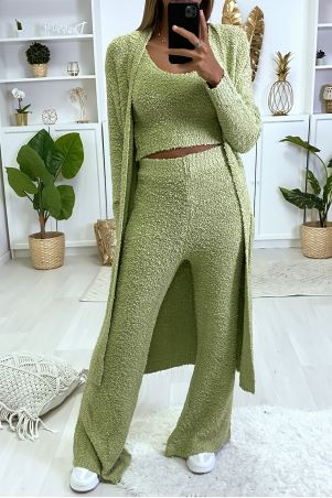3-piece set, vest, pants and tank top in very warm khaki chenille knit