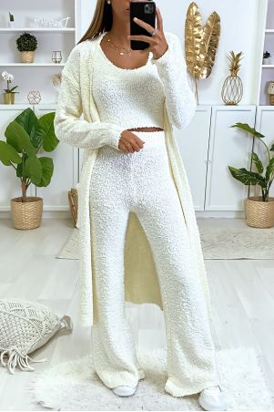 3-delige set van vest, broek en tanktop in zeer warm wit chenille breisel