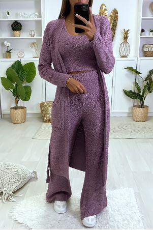 3-delige set, vest, broek en tanktop in zeer warm lila chenille breisel