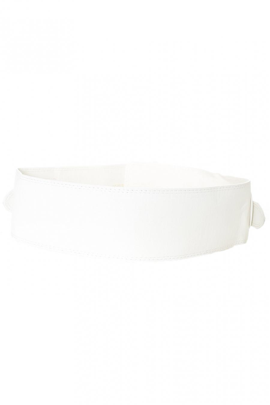 Ceinture blanche à double boucle et lanières SG-0315
