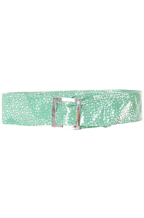 Bright green belt with star pattern and rectangle buckle. stars