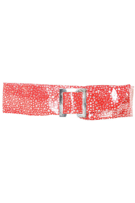 Bright red belt with star pattern and rectangle buckle. stars
