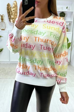 Witte oversized drop sweater met tekst