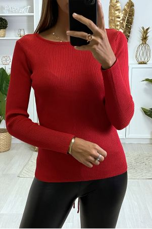 Red ribbed knit sweater with lace at the back