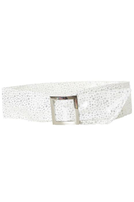 Lichtgewicht witte riem met sterpatroon en rechthoekige gesp. sterren