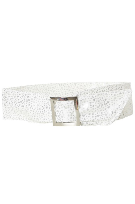 Lightweight white belt with star pattern and rectangle buckle. stars