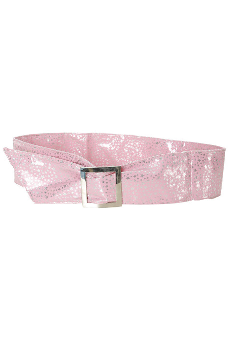Light pink belt with star pattern and rectangle buckle. stars