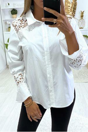 Chemise noir en coton avec dentelle aux épaules et aux manches