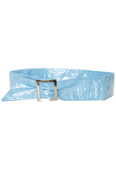 Light blue belt with star pattern and rectangle buckle. stars
