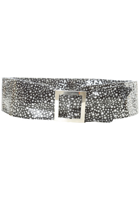 Lightweight black belt with star pattern and rectangle buckle. stars
