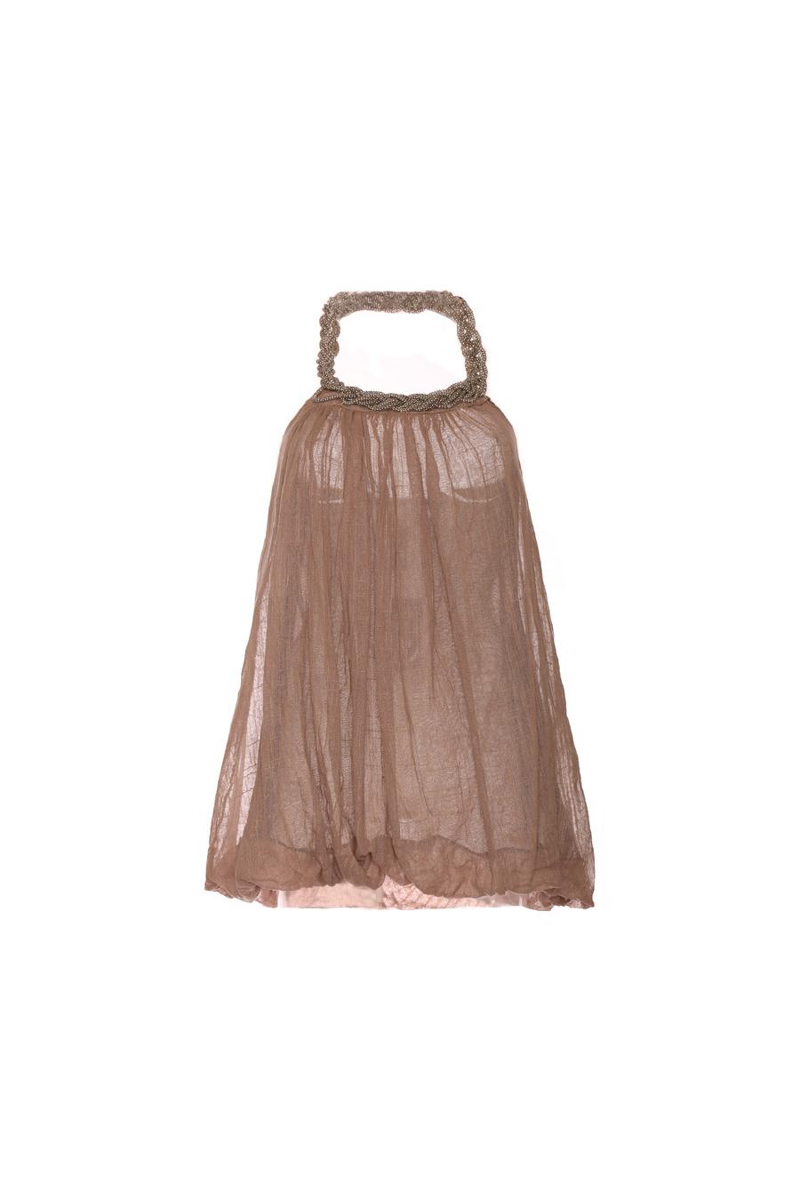 Tunique taupe pour femme avec col en maille. Vêtement femme tendance. 1326