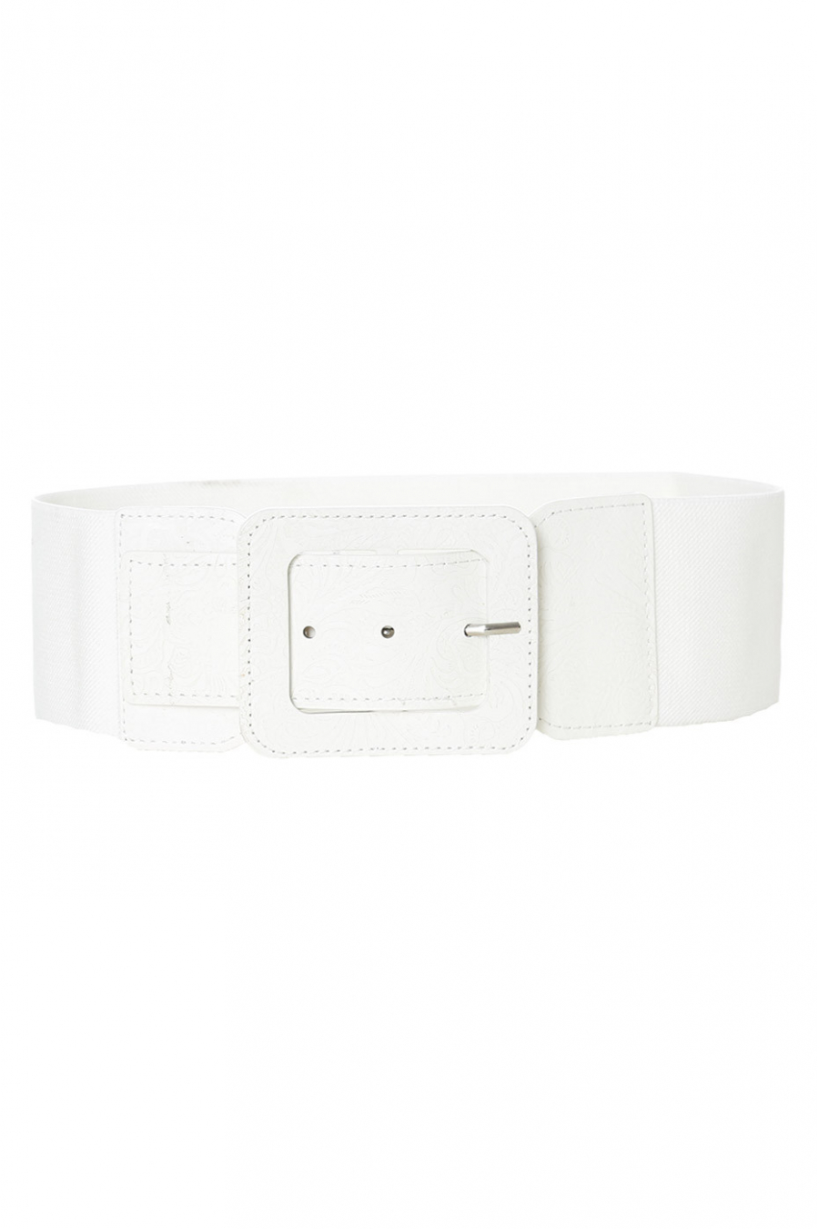 Elastic white belt with rectangle buckle. SG-0750