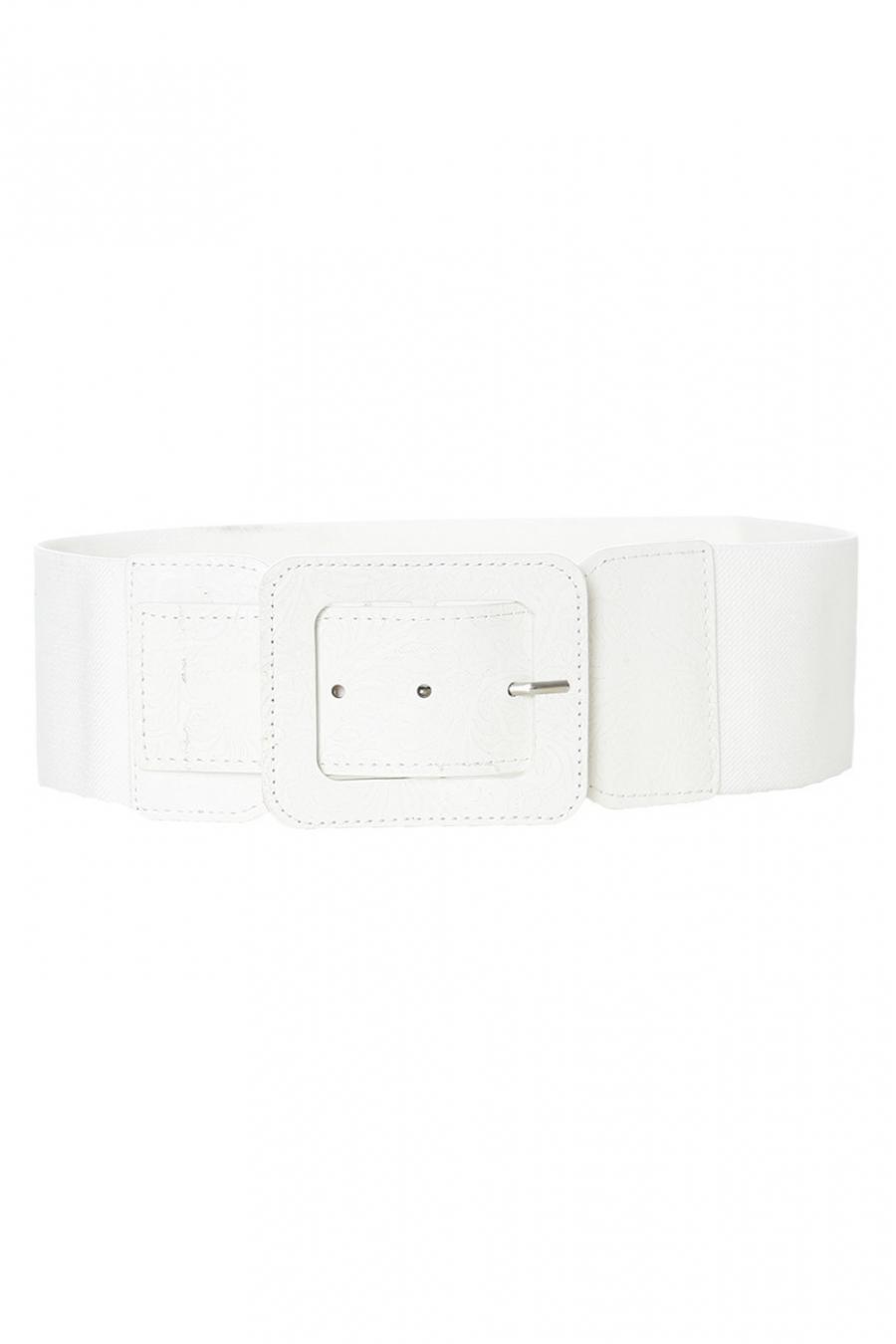 Witte elastische riem met rechthoekige gesp. SG-0750