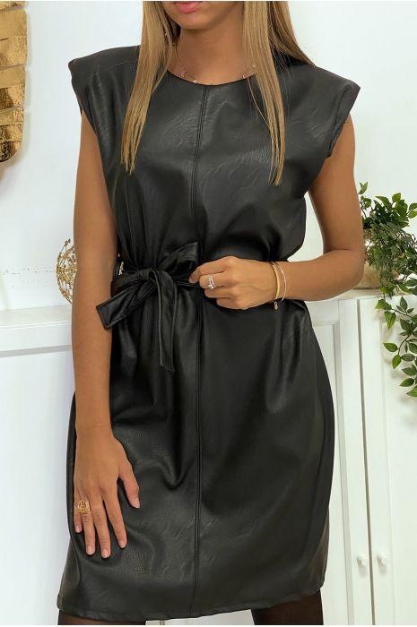 Robe Noir En Simili Avec Epaulettes Et Ceinture Mode Femme Pas Cher