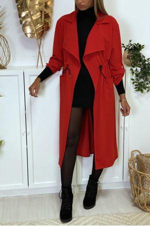 Lang rood blazervest met zakken en geïntegreerde kanten tailleband