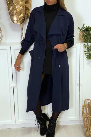 Long gilet blazer camel avec poches et ceinture intégré en lacet