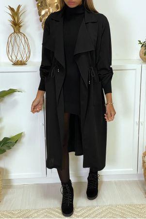 Lang navy blazervest met zakken en geïntegreerde kanten tailleband