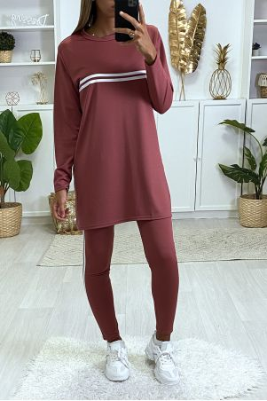 Black tunic and leggings sport set with white bands