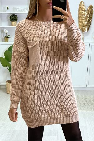 Robe pull moutarde tombant avec poche au buste