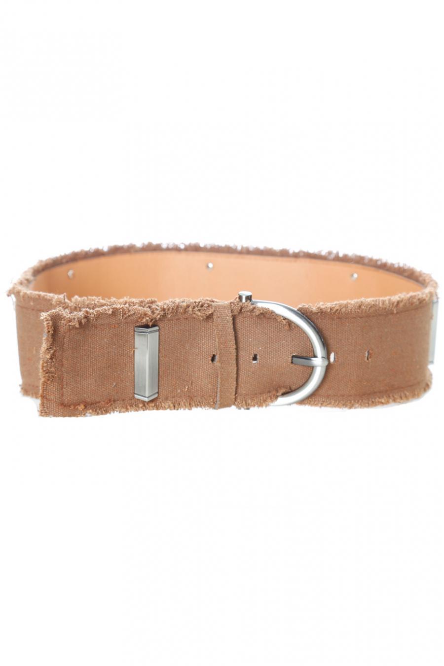 Camel denim-effect belt with rectangle studs. SG-0907