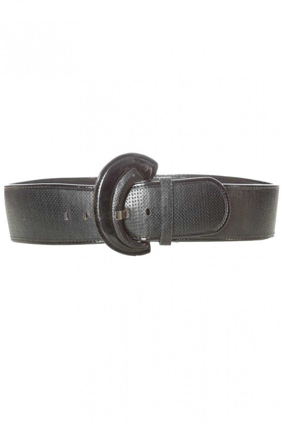 Zwarte doorgestikte riem met glanzende ovale gesp. BG-0101