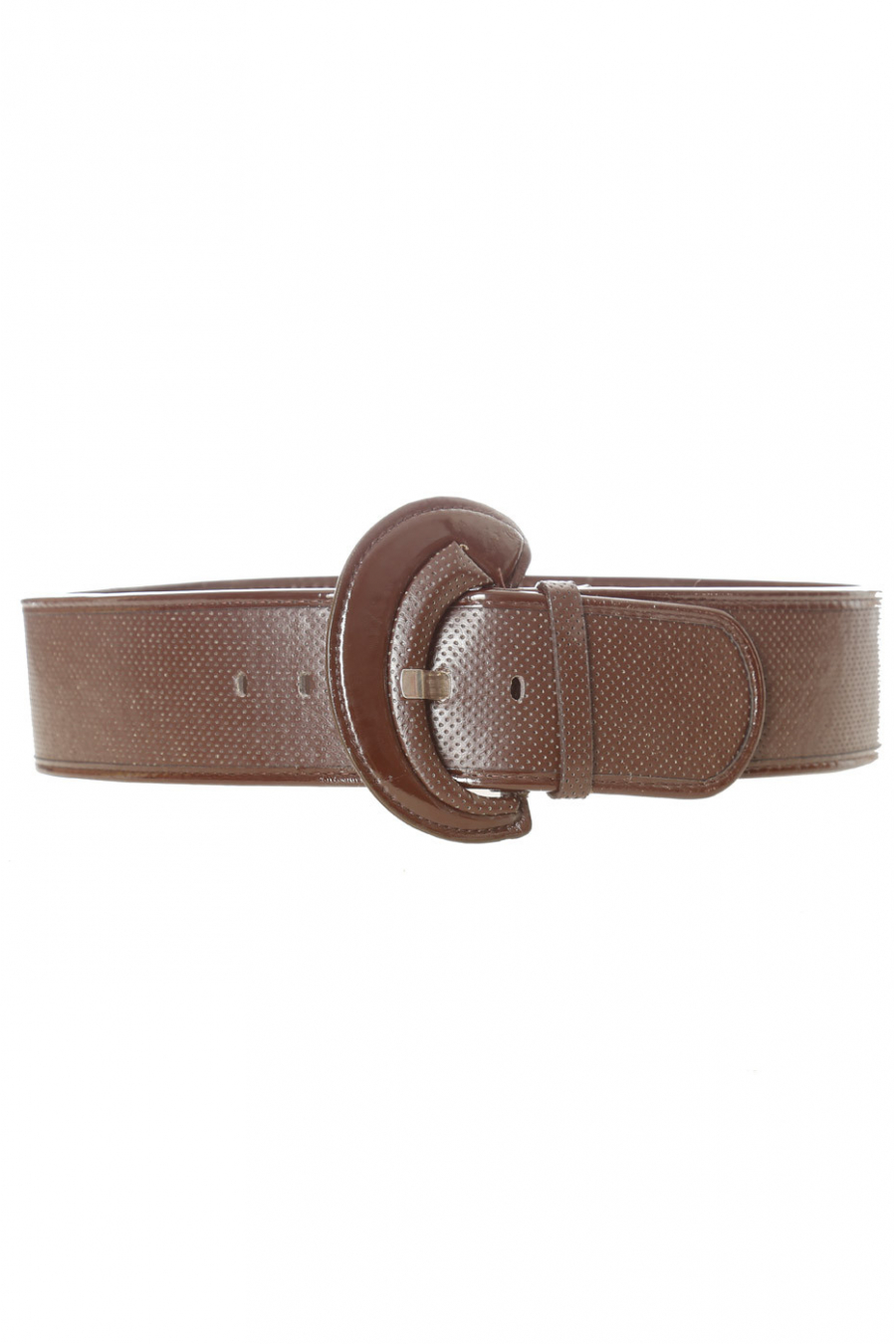 Brown quilted style belt with shiny oval buckle. BG-0101