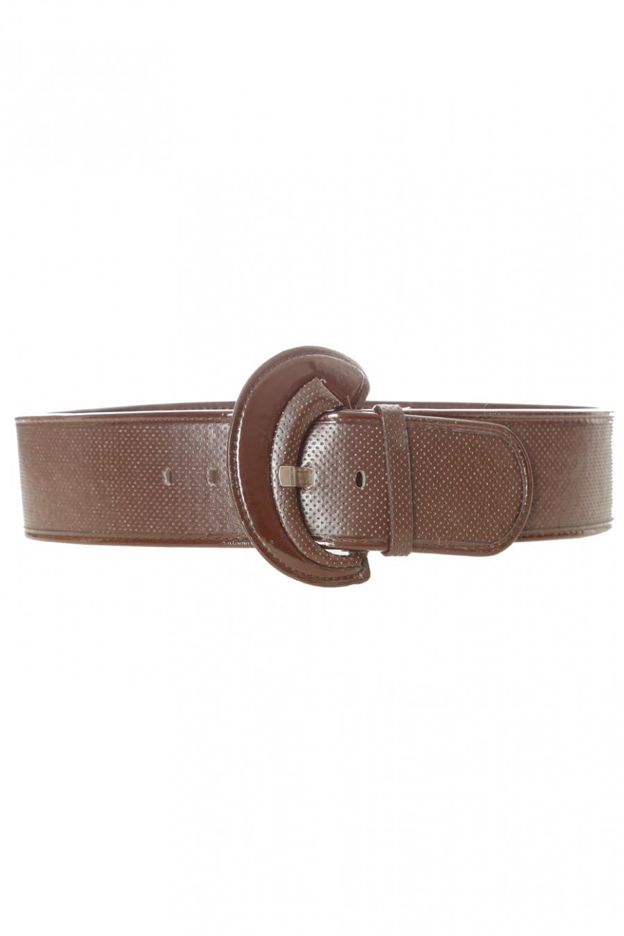Bruine doorgestikte riem met glanzende ovale gesp. BG-0101
