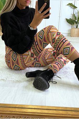 Legging à motif noir et taupe