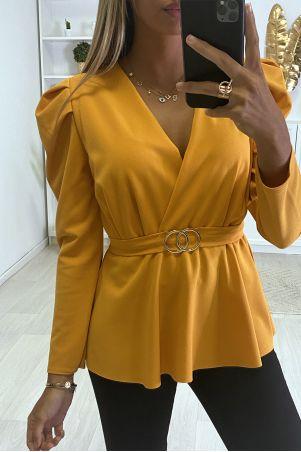 Mosterdgeel double-breasted blouse met ringen en gepofte schouders