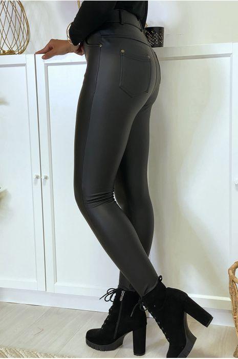 Pantalon noir en simili molletonné à l'intérieur avec 4 poches