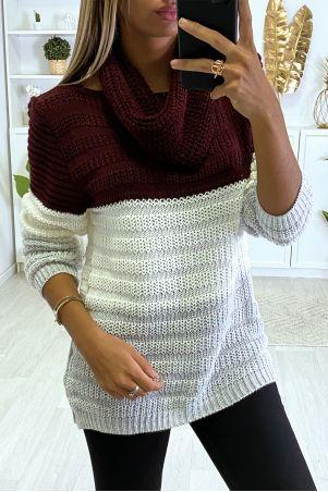 Bordeaux wit grijze sweater met sjaal