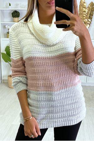 Wit roze grijze sweater met sjaal