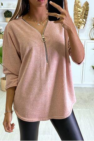 Roze blouse met vleermuismouwen en ritssluiting vooraan