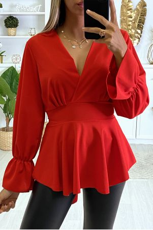 Red wrap blouse with flounce
