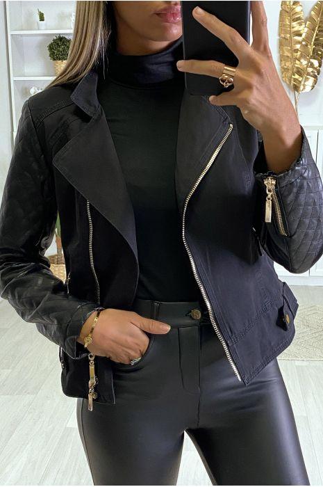 Veste kaki et noir avec manches en simili matelassé