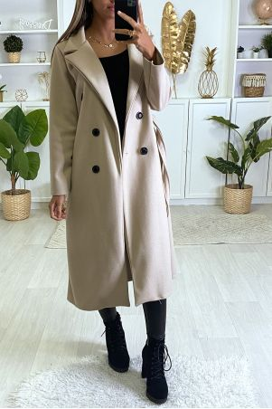 Long double-breasted coat in beige with button pockets and belt