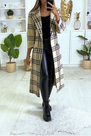 Lange beige geruite jas met zakken en riem