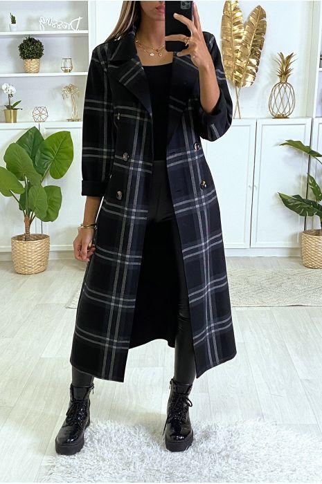 Long Manteau à Carreaux Noir Avec Poches Et Ceinture Manteau Femme