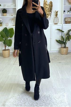 Lange zwarte double-breasted jas met knoopzakken en riem