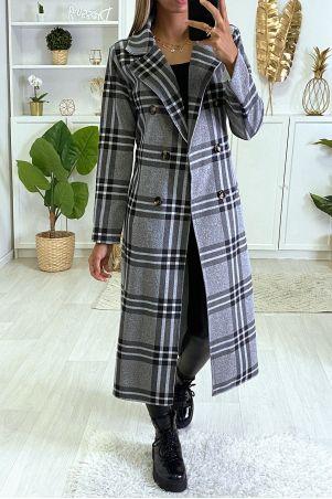 Lange grijze geruite jas met zakken en riem