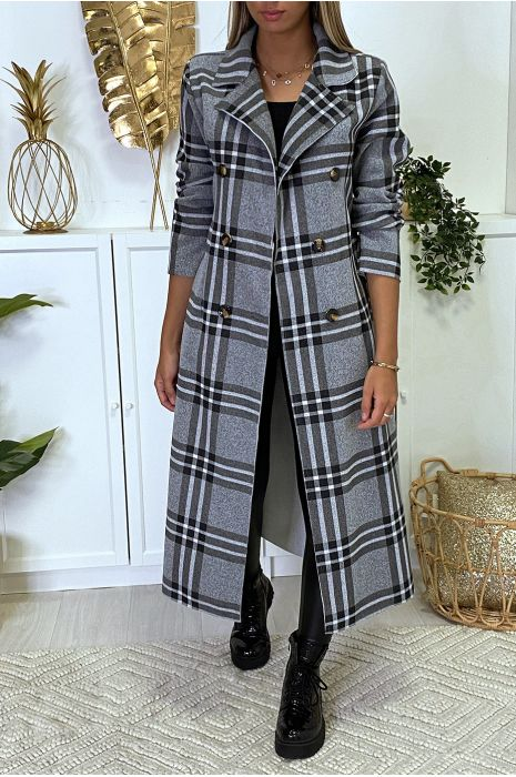 Long Manteau à Carreaux Gris Avec Poches Et Ceinture Manteau Femme