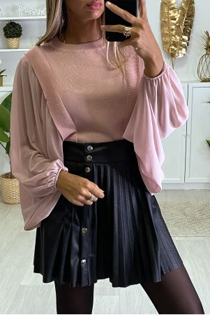 Beautiful pink sweater with batwing veil sleeves
